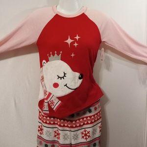 Cute polar bear snowflake soft pajamas for girls